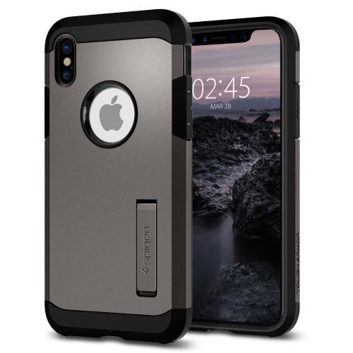 Made for [Apple iPhone X / XS 2018] Tough Armor Case, [Gunmetal] Hybrid Case W/ Kickstand, Extreme Heavy Duty Protection, Air Cushion Technology by Spigen