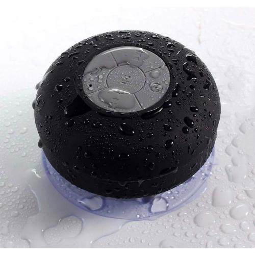 waterproof bluetooth shower speaker w suction cup black