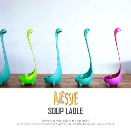 Eutuxia Nessie Soup Ladle, Loch Ness Monster Spoon Stands Upright. Food Grade Nylon, Dishwasher Safe Kitchen Utensil. Cute, Unique Cooking Tool. Great for Parties and Daily Household Use. [Magenta]