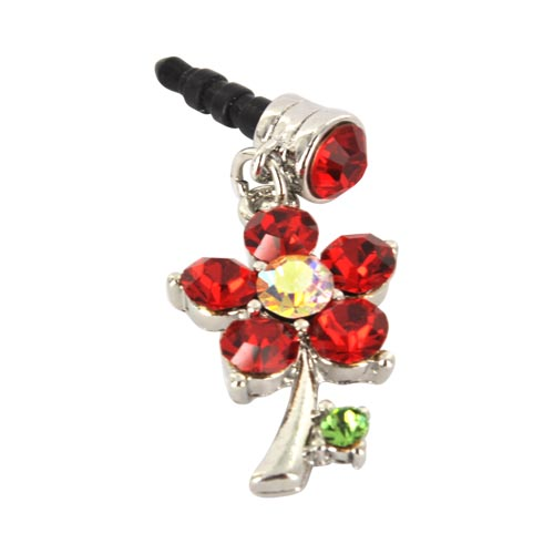 3.5mm Headphone Jack Stopple Charm - Silver Flower w/ Red Gems