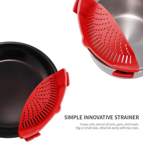 Eutuxia Clip-On Silicone Strainer. Perfect Colander & Sieve Alternative for Straining Food. Easy Snap-On Universal Fit Design for All Pots, Pans, and Bowls.