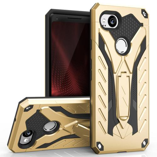 Google Pixel 2 Case, STATIC Dual Layer Hard Case TPU Hybrid [Military Grade] w/ Kickstand & Shock Absorption [Gold/ Black]