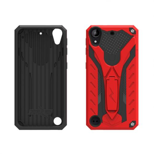 HTC Desire 530 Case, STATIC Dual Layer Hard Case TPU Hybrid [Military Grade] w/ Kickstand & Shock Absorption [Red/ Black]