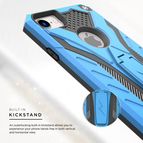 Made for Apple iPhone 8/7/6S/6 Case, STATIC Dual Layer Hard Case TPU Hybrid [Military Grade] w/ Kickstand Shock Absorption [Blue/ Black]