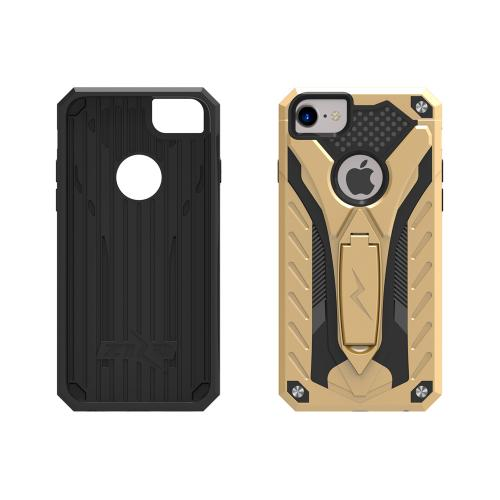 Made for Apple iPhone 8/7/6S/6 Case, STATIC Dual Layer Hard Case TPU Hybrid [Military Grade] w/ Kickstand Shock Absorption [Gold/ Black]