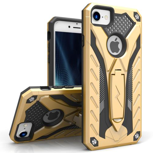 Apple iPhone 8/7/6S/6 Case, STATIC Dual Layer Hard Case TPU Hybrid [Military Grade] w/ Kickstand & Shock Absorption [Gold/ Black]