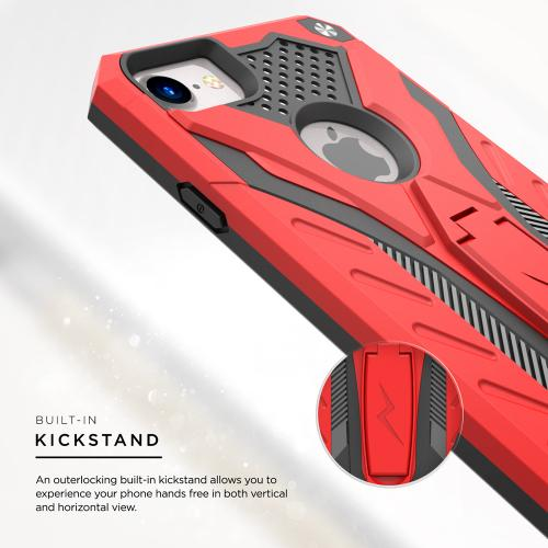 Made for Apple iPhone 8/7/6S/6 Case, STATIC Dual Layer Hard Case TPU Hybrid [Military Grade] w/ Kickstand Shock Absorption [Red/ Black]