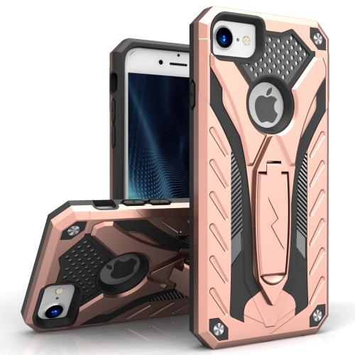 Apple iPhone 8/7/6S/6 Case, STATIC Dual Layer Hard Case TPU Hybrid [Military Grade] w/ Kickstand & Shock Absorption [Rose Gold/ Black]
