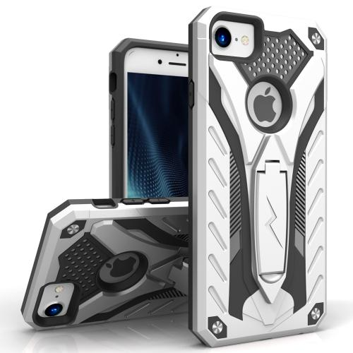 Made for Apple iPhone 8/7/6S/6 Case, STATIC Dual Layer Hard Case TPU Hybrid [Military Grade] w/ Kickstand Shock Absorption [Silver/ Black]