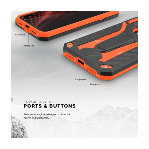 Apple iPhone X Case, STATIC Dual Layer Hard Case TPU Hybrid [Military Grade] w/ Kickstand & Shock Absorption [Orange/ Black]