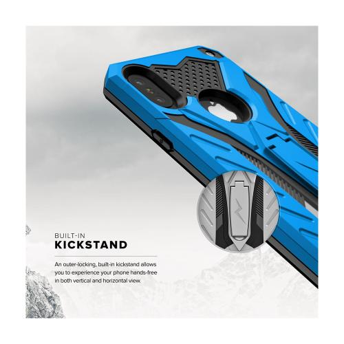 Apple iPhone X Case, STATIC Dual Layer Hard Case TPU Hybrid [Military Grade] w/ Kickstand & Shock Absorption [Blue/ Black]