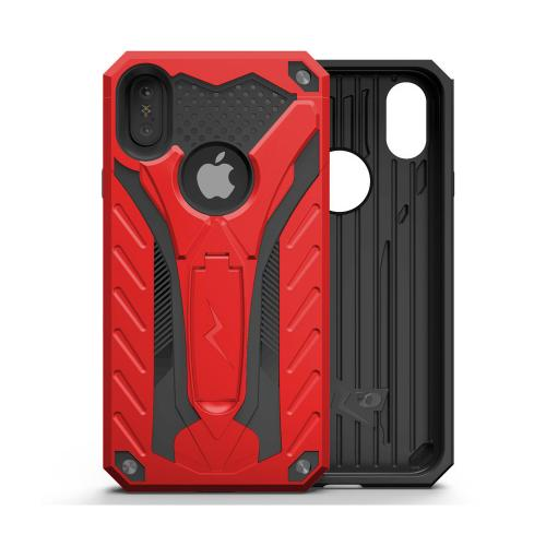 Apple iPhone X Case, STATIC Dual Layer Hard Case TPU Hybrid [Military Grade] w/ Kickstand & Shock Absorption [Red/ Black]