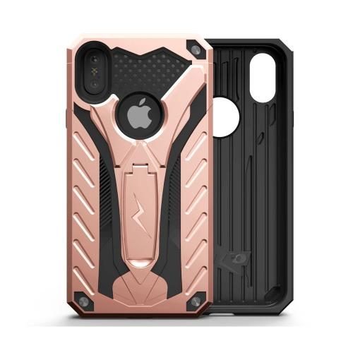 Apple iPhone X Case, STATIC Dual Layer Hard Case TPU Hybrid [Military Grade] w/ Kickstand & Shock Absorption [Rose Gold/ Black]