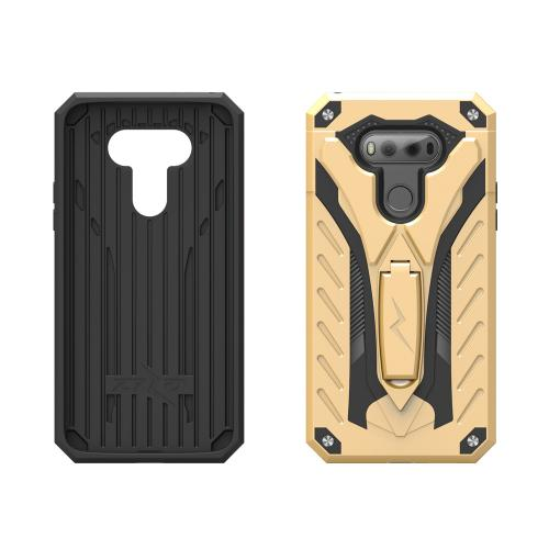 LG V20 Case, STATIC Dual Layer Hard Case TPU Hybrid [Military Grade] w/ Kickstand & Shock Absorption [Gold/ Black]