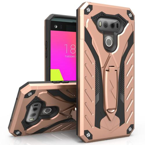 LG V20 Case, STATIC Dual Layer Hard Case TPU Hybrid [Military Grade] w/ Kickstand & Shock Absorption [Rose Gold/ Black]
