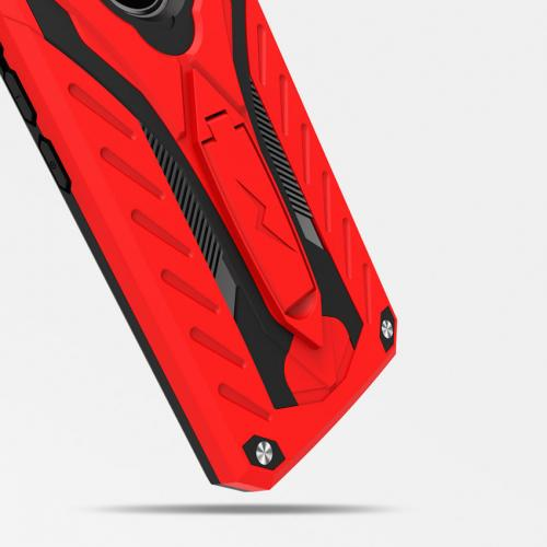 Motorola Moto G5 Plus Case, [STATIC] Dual Layer Hard Case TPU Hybrid [Military Grade] w/ Kickstand & Shock Absorption [Red/ Black]