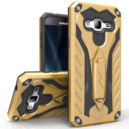 Samsung Galaxy On5 Case, STATIC Dual Layer Hard Case TPU Hybrid [Military Grade] w/ Kickstand & Shock Absorption [Gold/ Black]