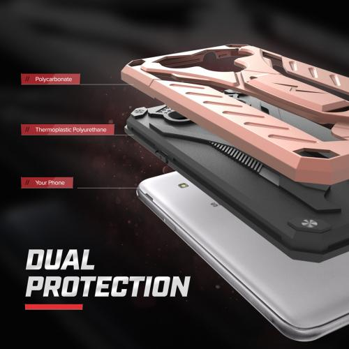 Samsung Galaxy On5 Case, STATIC Dual Layer Hard Case TPU Hybrid [Military Grade] w/ Kickstand & Shock Absorption [Rose Gold/ Black]