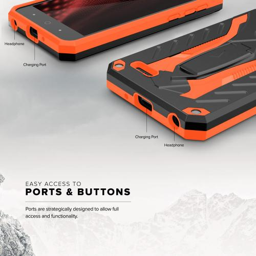 ZTE Tempo X/ Avid 4 Case, [STATIC] Dual Layer Hard Case TPU Hybrid [Military Grade] w/ Kickstand & Shock Absorption [Black/ Orange]