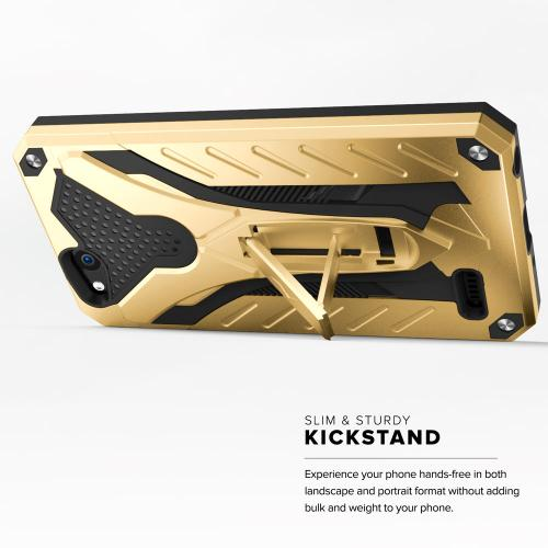 ZTE Tempo X/ Avid 4 Case, [STATIC] Dual Layer Hard Case TPU Hybrid [Military Grade] w/ Kickstand & Shock Absorption [Gold/ Black]