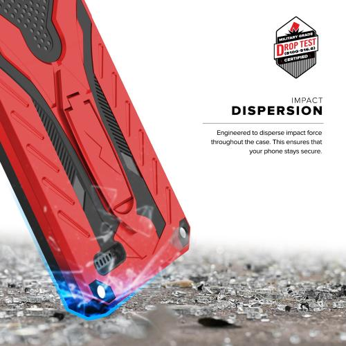 ZTE Tempo X/ Avid 4 Case, [STATIC] Dual Layer Hard Case TPU Hybrid [Military Grade] w/ Kickstand & Shock Absorption [Red/ Black]