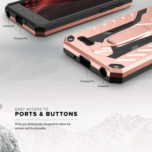 ZTE Tempo X/ Avid 4 Case, [STATIC] Dual Layer Hard Case TPU Hybrid [Military Grade] w/ Kickstand & Shock Absorption [Rose Gold/ Black]