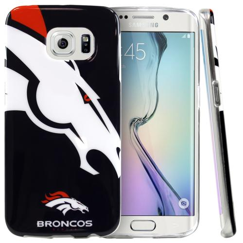 Samsung Galaxy S6 Edge Case, NFL Licensed [Denver Broncos]  Slim & Flexible Anti-shock Crystal Silicone Protective TPU Gel Skin Case Cover