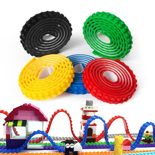 Block Tape Bundle, [Multicolor] 5 Rolls of Non-Toxic Safe Silicone Tape w/ Reusable Self-Adhesive Strips - Brick Base Plates for Lego Toys & Other Toy Block Systems [3 Ft/ Roll]