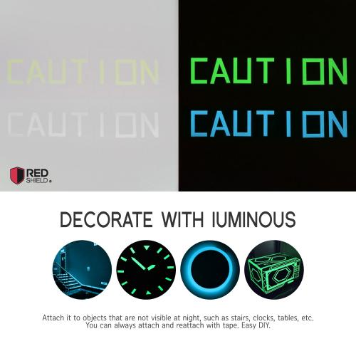 RED SHIELD Glow in the Dark Tape. Luminous, Fluorescent Self-Adhesive Sticker. Removable, Waterproof, Photoluminescent. For Decoration, Illuminating Objects at Night. [40 x 0.625 Inches, Blue 2 PK]