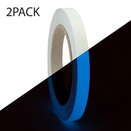 RED SHIELD Glow in The Dark Tape. Luminous, Fluorescent Self-Adhesive Sticker. Removable, Waterproof, Photoluminescent. for Decoration, Illuminating Objects at Night. [39.4 * 0.6 inches, Blue 2PK]