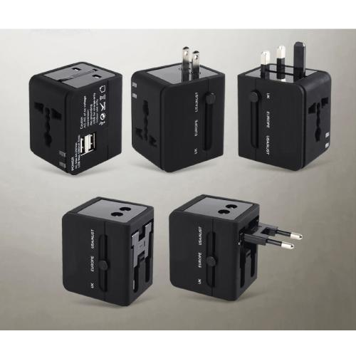 Black All In One International Travel Power Converter Plug Adapter Charger With 2 USB Ports - Charge around the World!