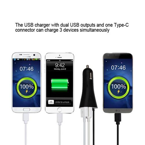 Type-C Car Charger with Dual USB Ports 3.3 FT [Black]