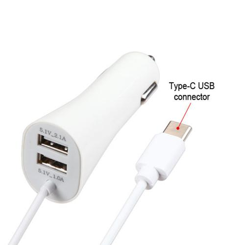 Type-C Car Charger with Dual USB Ports 3.3 FT [White]
