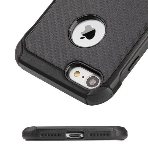 Made for Apple iPhone 8/7/6S/6 Case, Tough Hybrid Case [Black TPU] + [Black] Hard Cover W/ Carbon Fiber Design with Travel Wallet Phone Stand by Redshield