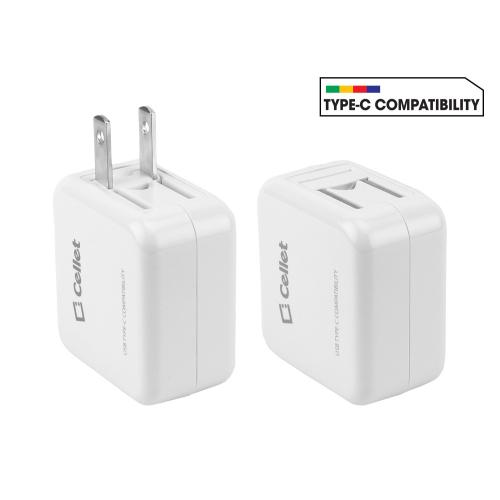 High Powered 3A 15W Universal USB Type-A and USB Type-C Dual Port Home Charger [White]