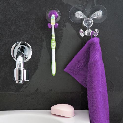 Toothbrush Holder, [Purple] Toothbrush Holder - Holds Your Toothbrush & Suctions to the Mirror!