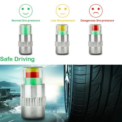 Car Tire Air Pressure Monitor 3 Color Alert Indicator Tire Valve Cap Gauge [4 Pcs/set]