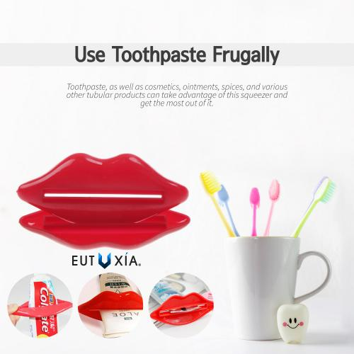 Eutuxia Toothpaste Dispenser, Tube Squeezer. Great for Cosmetics, Lotions, Creams, Ointments, Gels, Adhesives, and Paints. Squeeze & Use Remaining Contents. Easy to Use. Unique Lips Design. [4 PK]