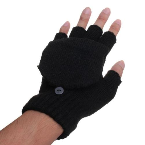 [Black] Knitted Flip Mittens, Fingerless Gloves For Unisex