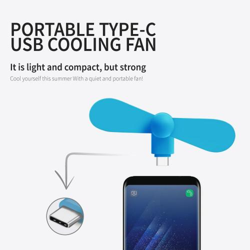 Portable USB Type-C Cooling Fan [White] - Use Your Phone [Samsung Galaxy S8/S8 Plus, LG G6, OnePlus 5 and MORE!] to Keep Cool!