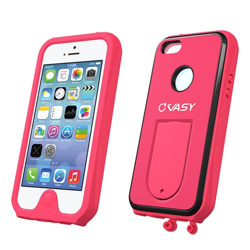 Apple iPhone SE / 5 / 5S  Case, VASY [Hot Pink]  Waterproof/ Dustproof/ Dirt Proof Protective Hard Case w/ Kickstand & Lanyard - Perfect Alternative to LifeProof!