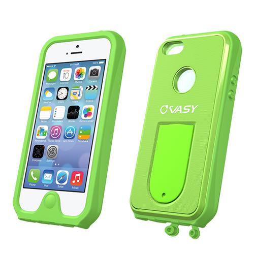 Made for Apple iPhone SE / 5 / 5S  Case, VASY [Lime Green]  Waterproof/ Dustproof/ Dirt Proof Protective Hard Case w/ Kickstand Lanyard - Perfect Alternative to LifeProof! by Vasy