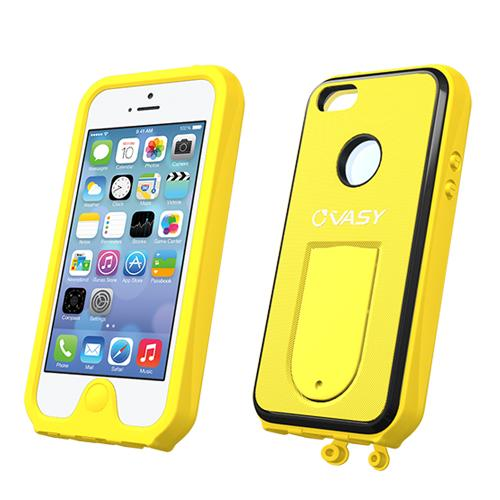 Made for Apple iPhone SE / 5 / 5S  Case, VASY [Yellow]  Waterproof/ Dustproof/ Dirt Proof Protective Hard Case w/ Kickstand Lanyard - Perfect Alternative to LifeProof! by Vasy