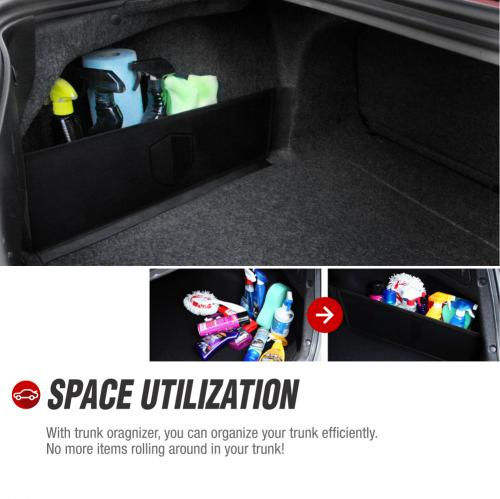 RED SHIELD Auto Trunk Organizer for Car, SUV, or Minivan w/ Towel Rack, Create Velcro Attached Shelving 22.4 inch X 7 inch