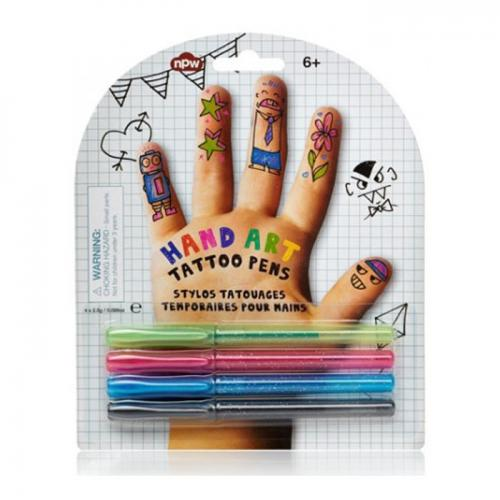 NPW Hand Art Tattoo Pens. Be Your Own Tattoo Artist and Decorate Your Hand & Body with Vibrant Colors. [Green, Pink, Blue and Black]