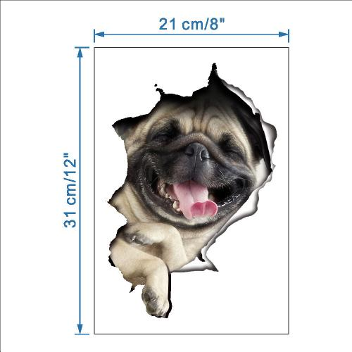 3D Wall Decal Sticker, [Laughing Pug Dog] Removable Wall Art Sticker Decal - Perfect for Any DIY Room!