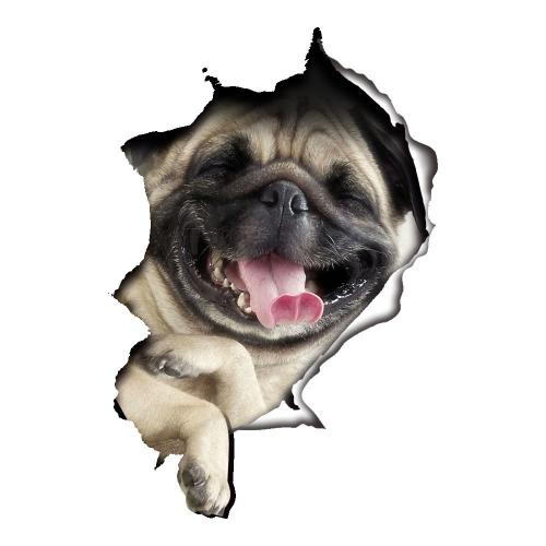 3D Wall Decal Sticker, [Laughing Pug Dog] Removable Wall Art Sticker ...