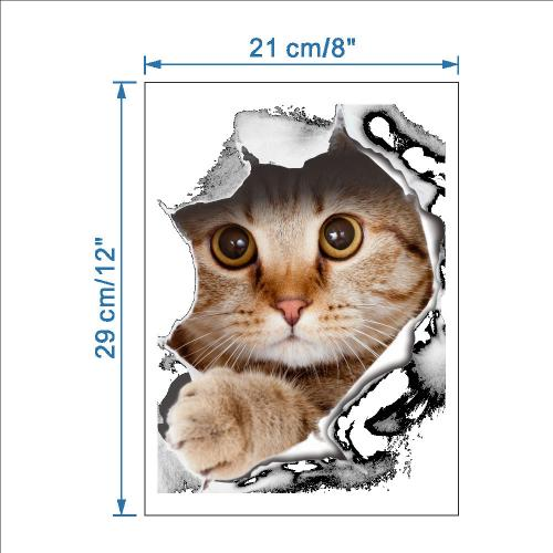 3D Wall Decal Sticker, [Peeking Out Kitty Cat] Removable Wall Art Sticker Decal - Perfect for Any DIY Room!