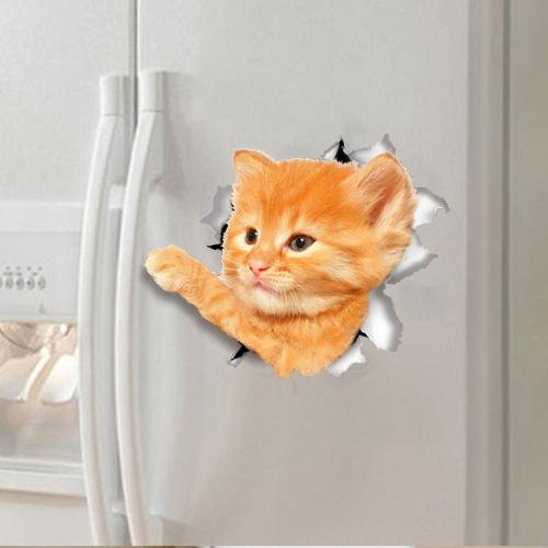 3D Wall Decal Sticker, [Reaching Out Orange Tabby Kitty Cat] Removable Wall Art Sticker Decal - Perfect for Any DIY Room!
