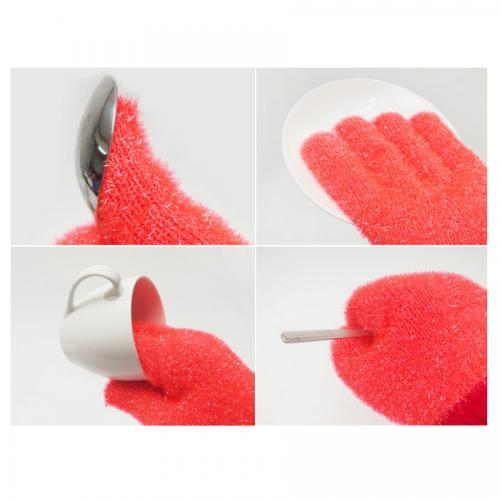 Polyester Washing Glove, 1 Unit [Red / Glove] Antimicrobial Multi-Purpose Cleaning Tool for Kitchen, Bathroom, Surface Stains